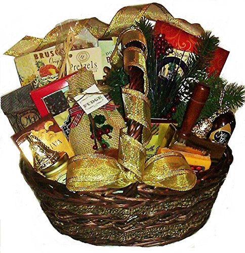 A Golden Holiday Gift Basket with Fudge