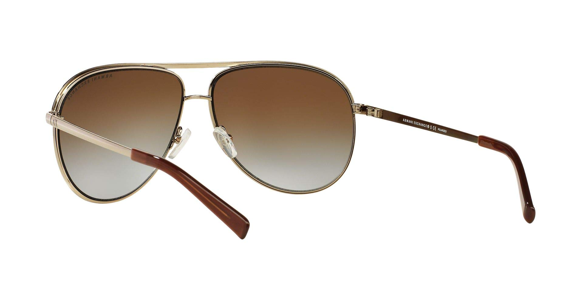 Armani Exchange Metal Unisex Polarized Aviator Sunglasses, Light Gold/Dark Brown, 61 mm by A|X Armani Exchange (Image #7)
