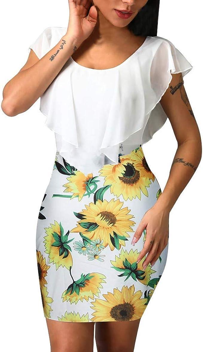 SEWORLD Vestido Falda de Estampado de Girasol con Volantes Slim ...