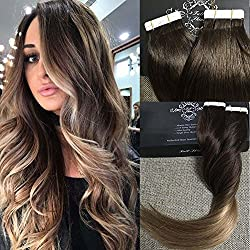 "Full Shine 14"" Tape in Hair Extensions Skin Weft Real Hair Extensions Balayage Hair Color #2 Fading to #6 and #18 Ash Blonde Full Head Tape in Tape in Hair Extensions 50g 20 Pcs Per Package"