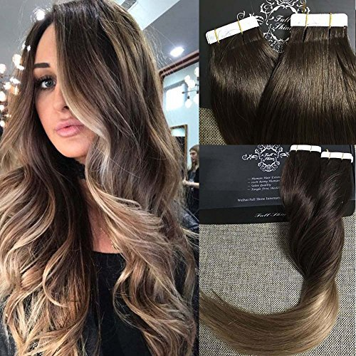 Amazon weft release tape extension remover beauty full shine 16 remy tape in hair extensions skin weft hair extensions ombre balayage color pmusecretfo Gallery