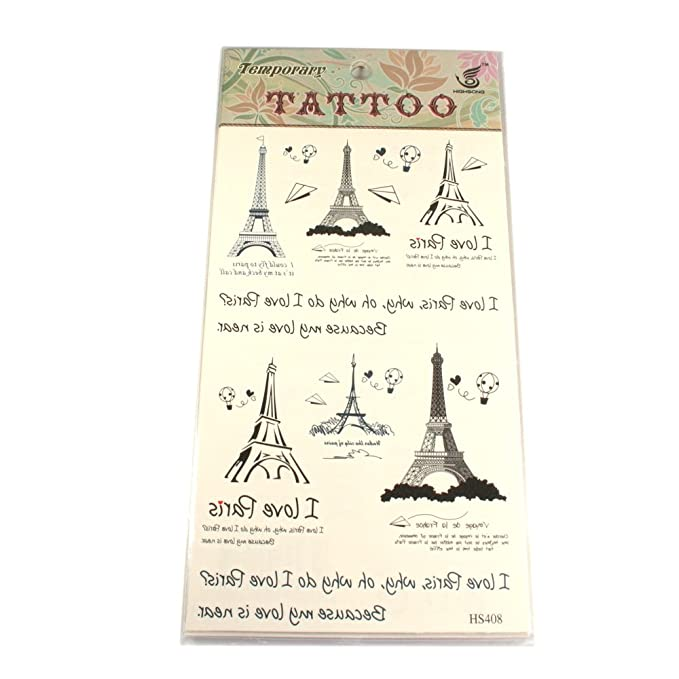 Tatuajes con torre Eiffel, globos de aire caliente, avión de papel ...