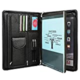 Cowhide Portfolio Handmade Padfolio Genuine Full Litchi Grain Leather Organizer Business Card Holder Office Conference Briefcase Case Zippered A4 Folder for iPad Pro 12.9 inch (Black)