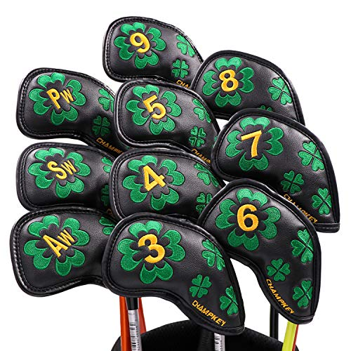 Champkey Custom Golf Iron Head Cover Pack of 10pcs Club Covers Ideal for Titleist, Callaway, Ping, Taylormade,Cobra Etc (Lucky Clover-Black) (Custom Golf Iron Club)