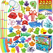CozyBomB Magnetic Fishing Toys Game Set for Kids Water Table Bathtub Kiddie Pool Party with Pole Rod Net, Plas