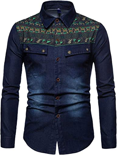 JYZJ Men Ethnic Style Embroidery Washed Slim Fit Long Sleeve Denim Work Western Shirt