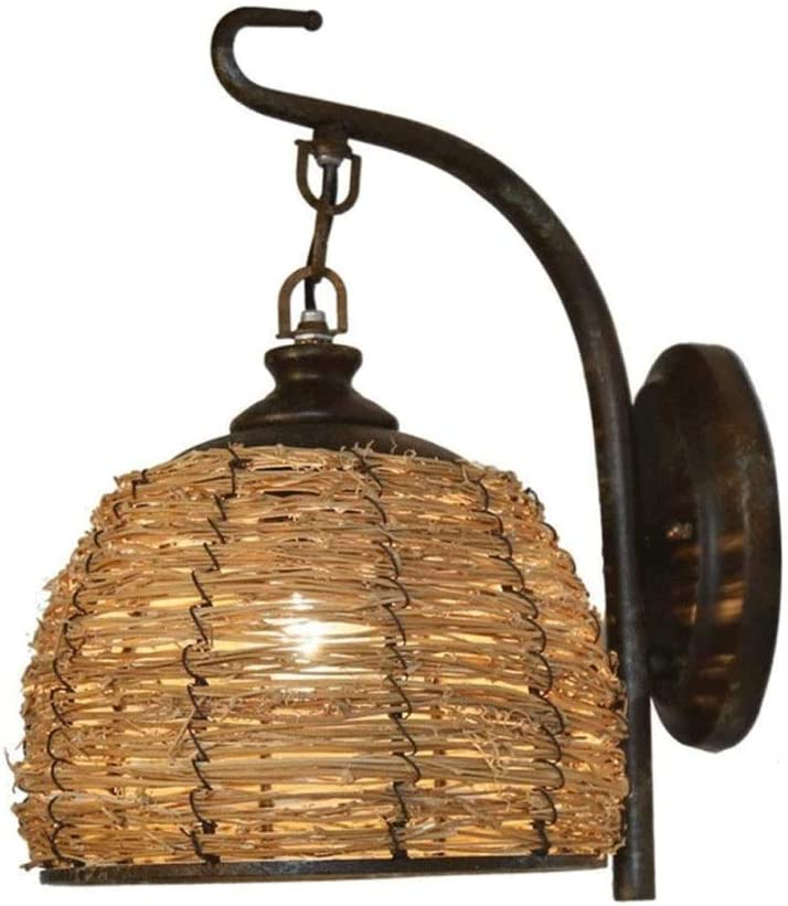 Big Shark Pared lámpara de Pared del Pasillo del Restaurante Linterna Jaula de luz al Aire Libre Hecho a Mano de bambú ratán lámpara de Pared de Hierro Vintage Soporte de luz de Pared rústica