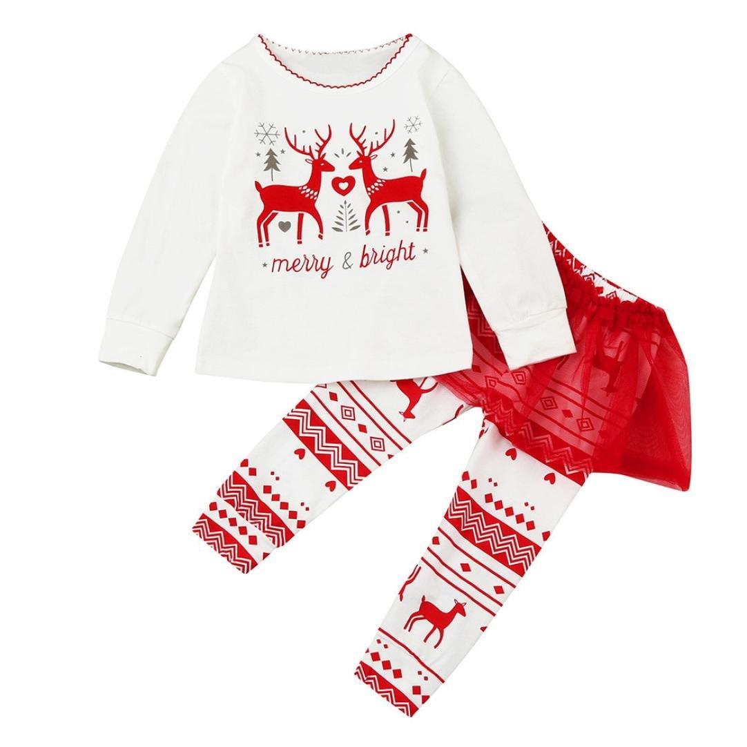 sunnymi 2Pcs My First Christmas Clothes Set Newborn Infant Toddler Kids Baby Boy Girl Santa Claus Deer Tops+Tutu Pants Set