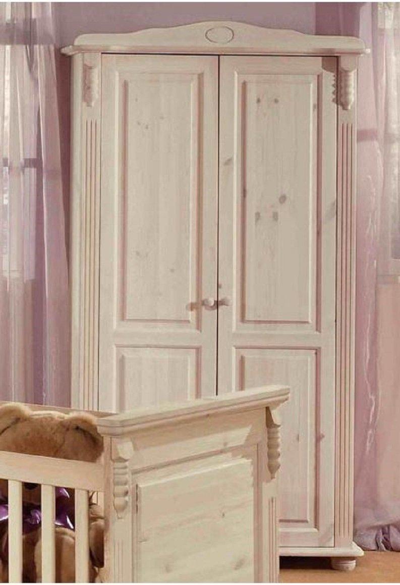 ROMANTIK Kleiderschrank Kinder-Kleiderschrank Kiefer massiv (weiß ...