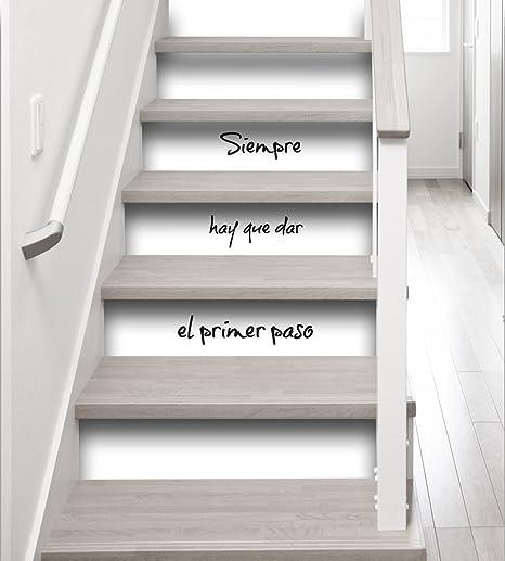 PLAGE Vinilos para Escaleras-Siempre Hay Que Dar El Primer Paso, Blanco y Negro, 19x3x100 cm, 3 Unidades: Amazon.es: Hogar