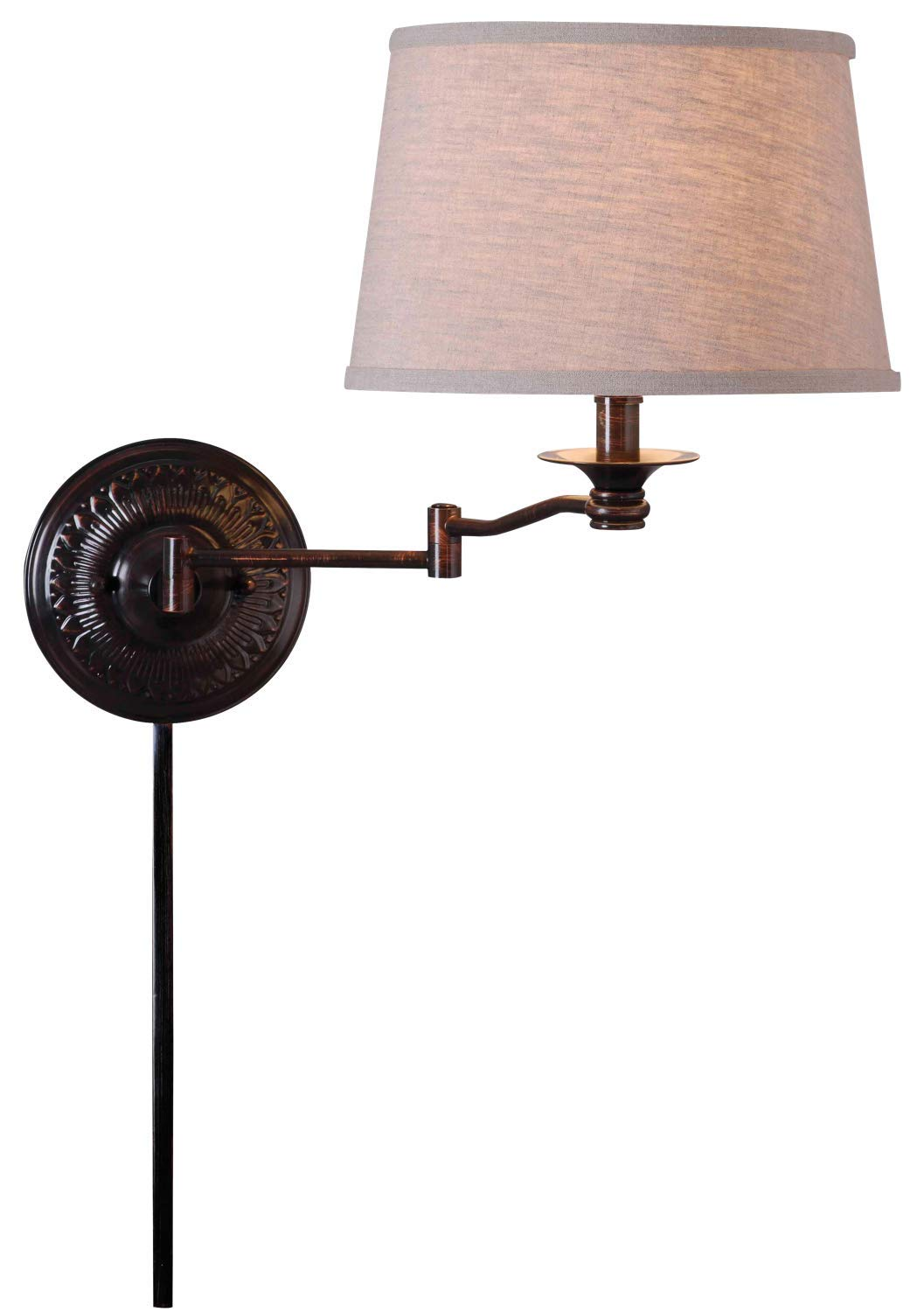 "Kenroy Home 32217CBZ Riverside Wall Swing Arm Lamp, 12"" x 12"" x 17"", Copper Bronze Finish"