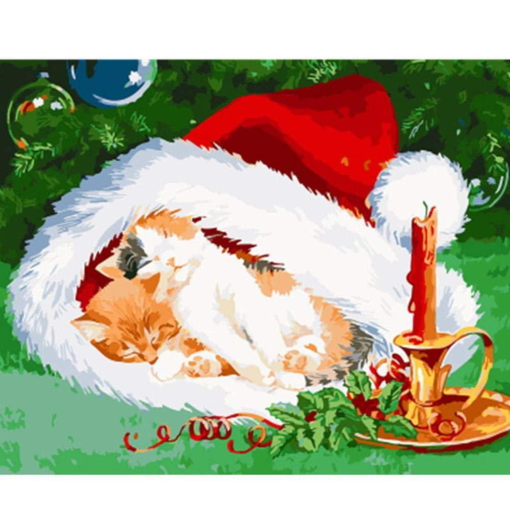 Dysdiy Bricolaje Pintura al óleo, Pintura por números Kits para Adultos Niños Pintura por número Kits Decoración para el hogar Sin Marco,Navidad 16*20 Pulgadas