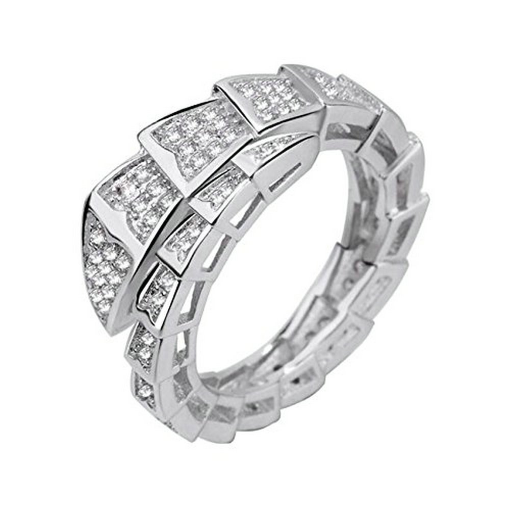 Uloveido Snake Rings for Women Silver Color Animal Ring Female Jewelry Party Ring Gifts Resizable Y320 Y320 (Platinum plated)