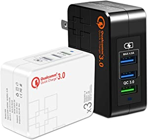 Quick Charge 3.0 USB Wall Charger (3A Max.) with Dual 5V/2.4A USB Ports (Total 4A), Portable 38W QC3.0 USB Charger Power Adapter with Foldable Plug for iPhone XS/Max/XR/X/8/7/6s/Plus