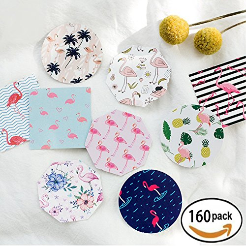 Bags Homemade Goody (Decorative Flamingo Party Stickers Vintage Decals Homemade Treat Baked Candy Box Bags Envelope Labels Wedding Favors Decorations, 180pc)