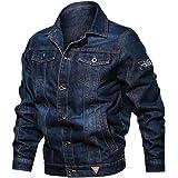 Pandaie Jean Jacket for Men Casual Denim Jacket Long Sleeve Lapel Plus Size Pockets Trucker Coat
