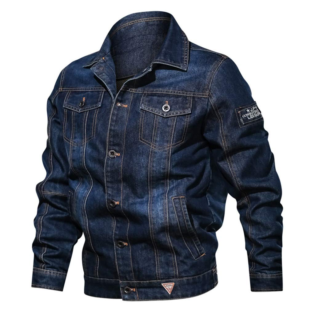 Men's Long Sleeve Trucker Jacket ,Clearance!! Males Buttons Zipper Pockets Winter Slim Fit Plus Size Denim Style Coat Tops by cobcob men's Coat
