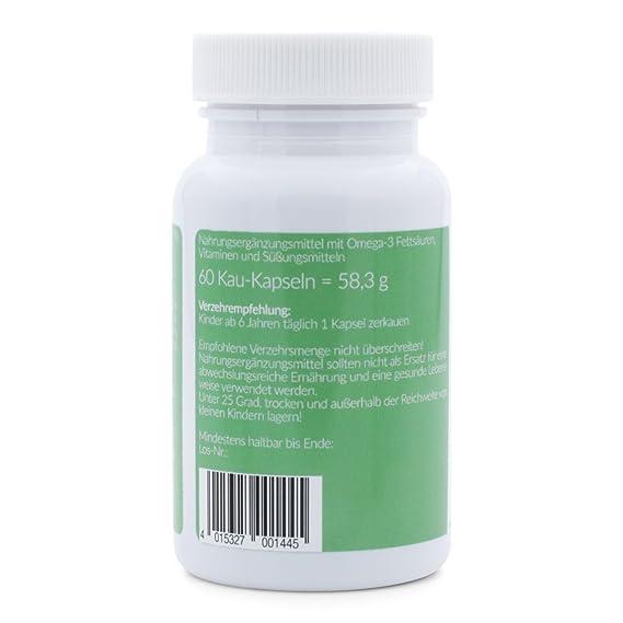 Omega 3 niños y vitaminas para niños, NaturElan, 60 cápsulas pequeñas para masticar con un delicioso sabor a grosella: Amazon.es: Salud y cuidado personal