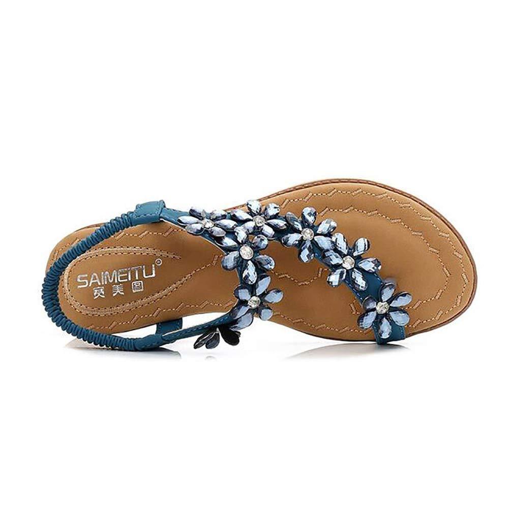 Oudan Damen Sandalen Flip Flops Niedrige Niedrige Niedrige Ferse Fesselriemen Wohnungen Mode Strass Fischgrätenmuster Schuhe,schwarz,US7.5 EU38 UK5.5 CN38 (Farbe   Blau, Größe   US7.5 EU38 UK5.5 CN38) a26aa9