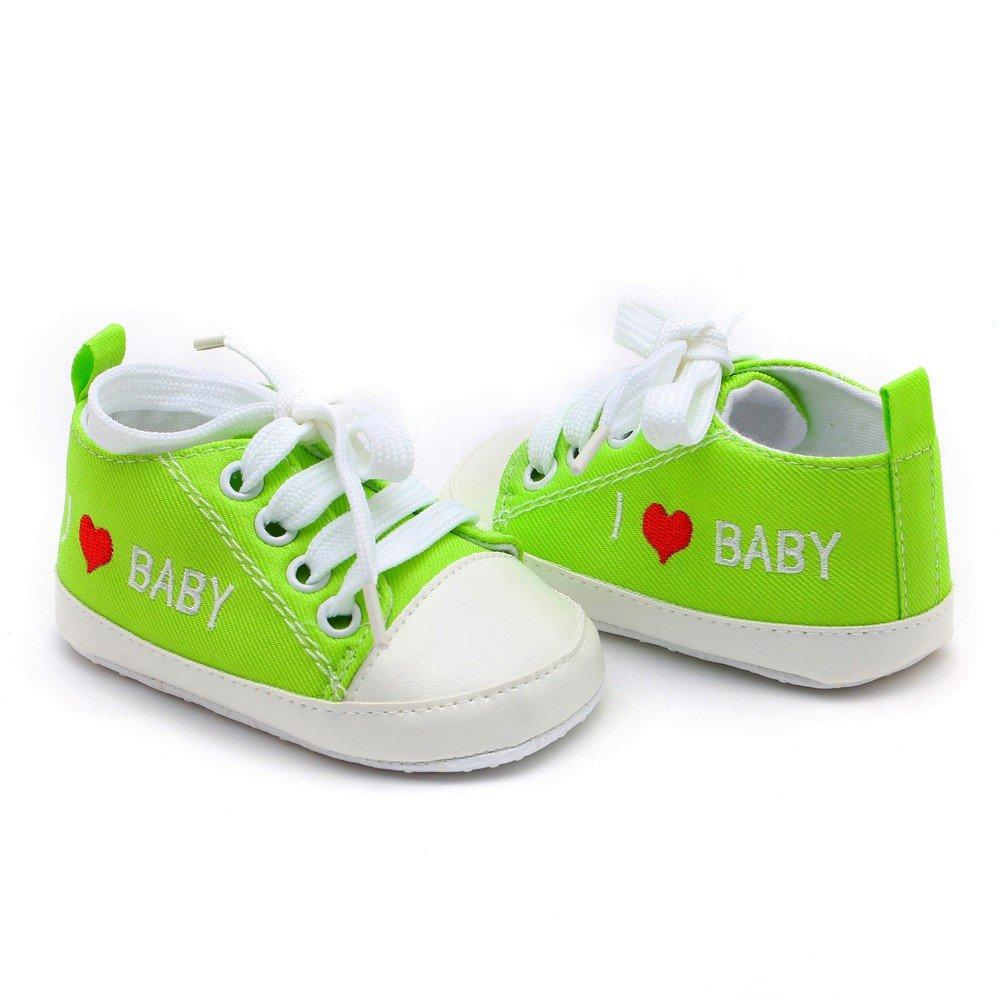 Niedlich Kind Baby S/äugling Junge M/ädchen weiche Sohle Kleinkind Schuhe Leinwand Sneak I Love Baby 0-6 Monat, Blau