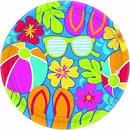 Amscan Summer Splash Dinner Plates Hawaiian Luau Beach Party Disposable Picnic Tableware 18 Pieces  sc 1 st  Amazon.com & Amazon.com: Amscan Summer Splash Dinner Plates Hawaiian Luau Beach ...