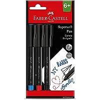 Caneta Com Ponta Porosa, Faber-Castell, Supersoft Pen, 1.0 mm, Cartela com 3 Cores