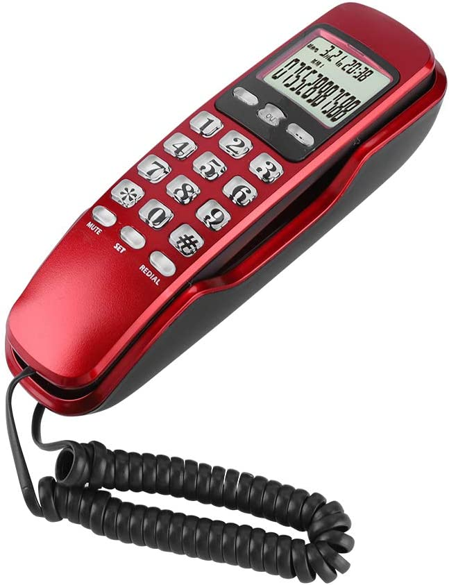 Dpofirs Mini Corded Home Telephone, Residential Telephone with LCD Display Screen, Multifunctional Telephone with Callback Function, Black Red Optional(Red)