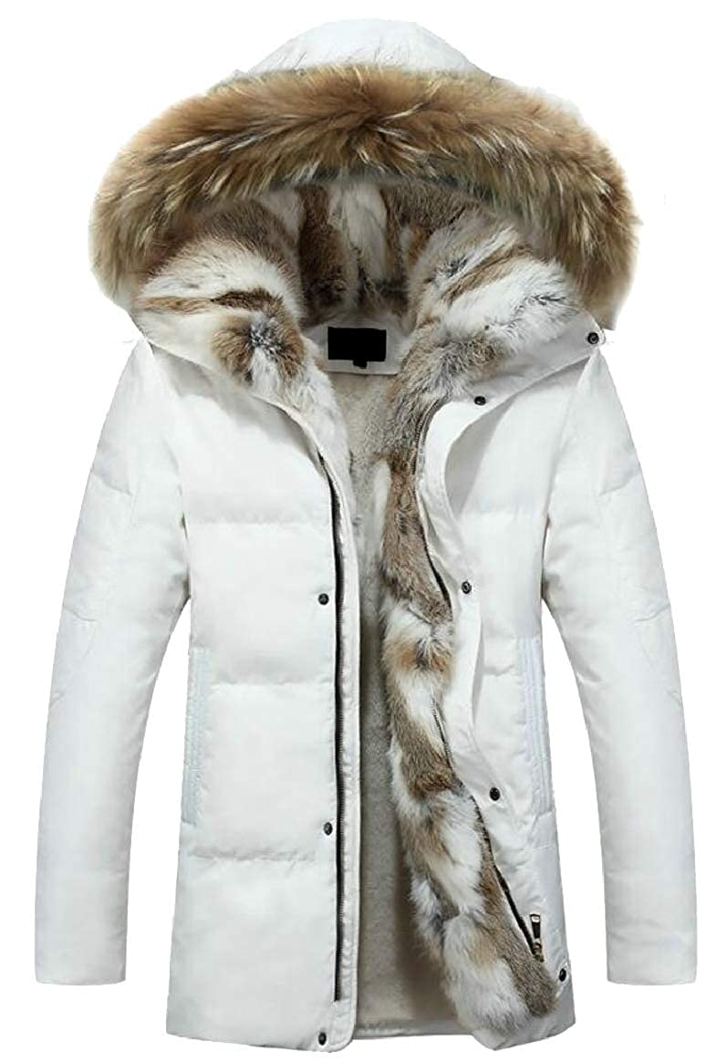 White pujinggeCA Womens Hooded Warm Coats Parkas with Faux Fur Lined Jackets