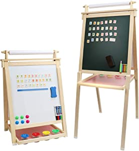 Dripex Kids Art Easel with Paper Roll, Double Sided Toddler Children Easel Chalkboard and Magnetic Dry Erase Board for Kid Painting and Drawing, Multiple Kids Art Supplies Oak