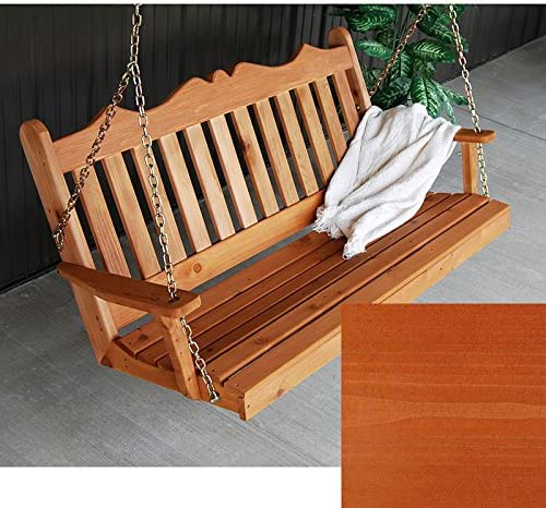 A L Furniture Co. Royal English Red Cedar Porch Swing … 5 Foot, Redwood Stain