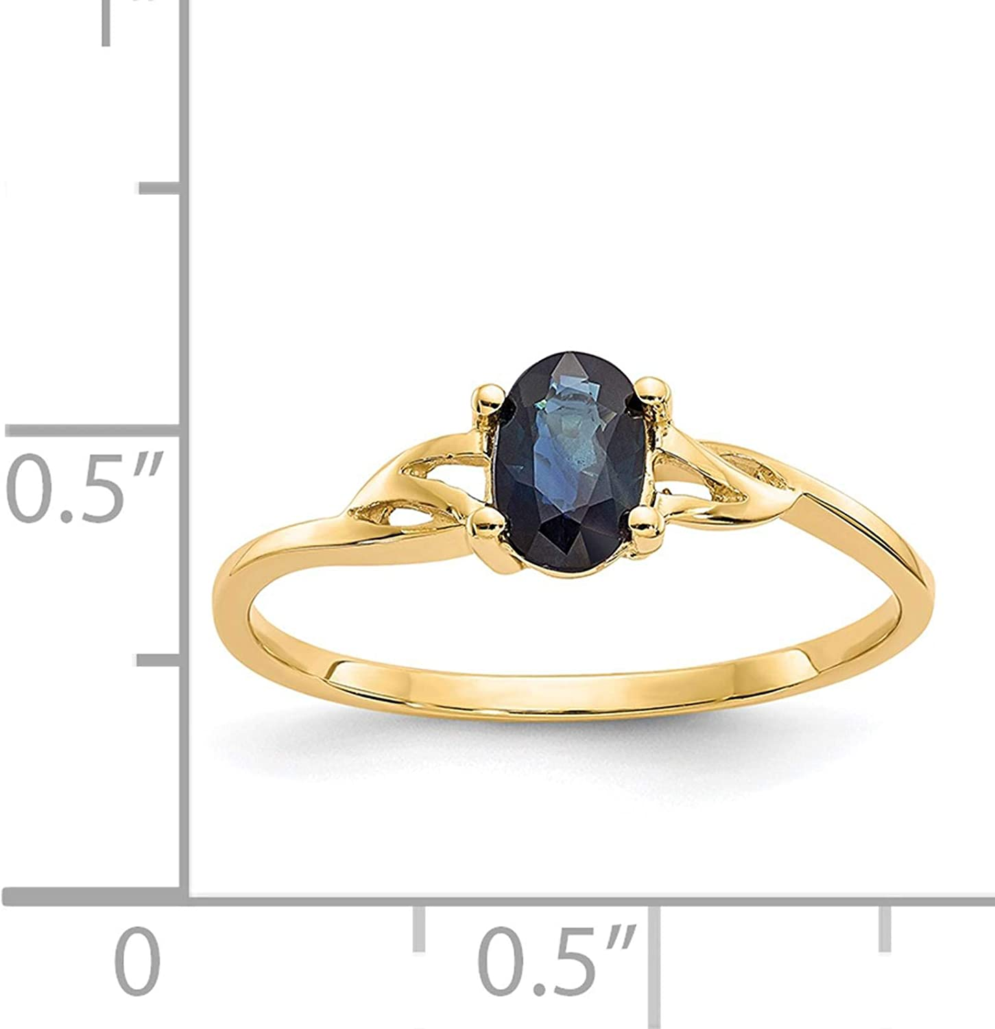 14K Yellow Gold Polished Oval Sapphire September Stone Ring Size 7