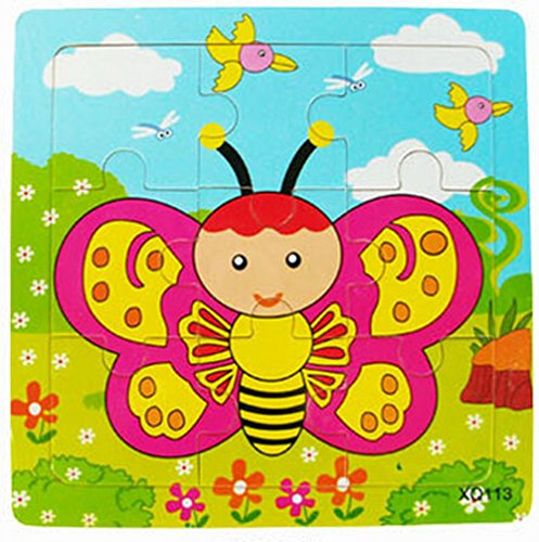 XQ113 9-piece Wooden Colorful Jigsaw Animal Puzzle, Butterfly - Pieced Butterfly Design