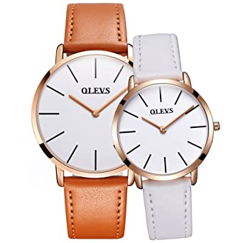 OLEVS Men Women Romantic Rose Golden Ultrathin Leather Band Quartz Wrist Watches for Couples Set of