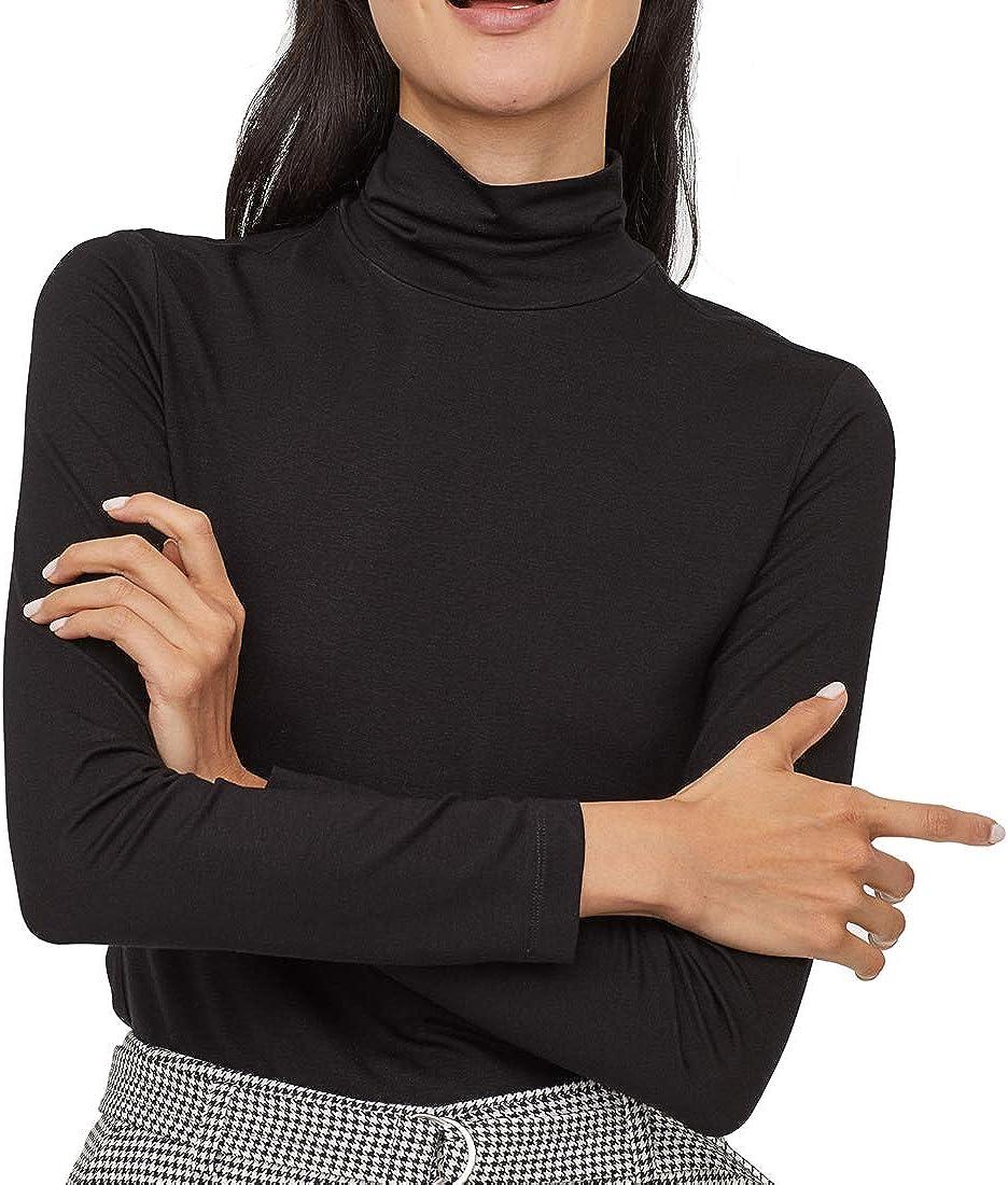 Cuello Alto Camisetas de Manga Larga Mujer Algodón Negro Marca Moda Caual Slim Camisas Ropa: Amazon.es: Ropa y accesorios