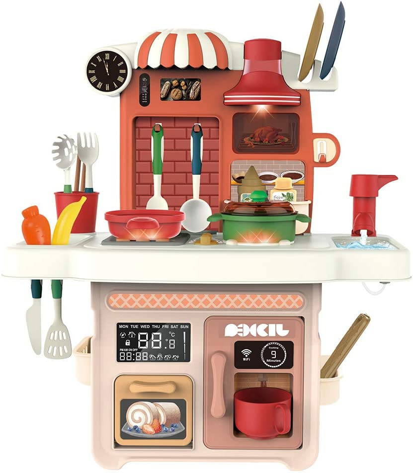 SIENON Play Kitchen Set with Music and Lights, Play Sink with Running Water, Play Cooking Stove, Cookware Playset, Play Oven, Play Coffee Maker, Pretend Role Play Toys for Girls Boys Kids (Medium)