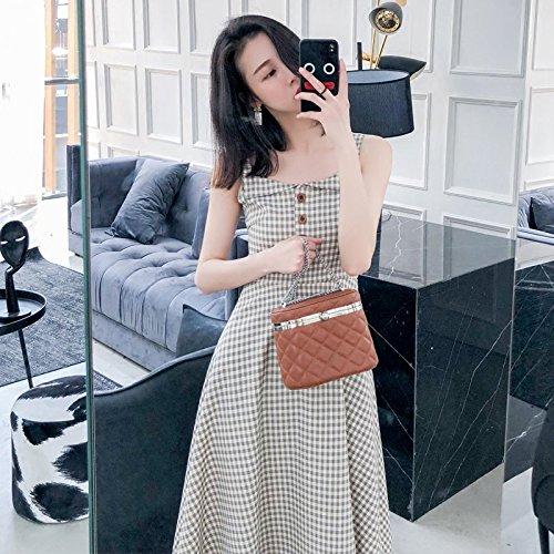 MiGMV?Robe Robes Rtro 2018 Nouvelle Jupe Sling Lattice Femme Xia Han Edition Petit Qingzhong temprament Long Style Robe Mince,L,Couleur Abricot
