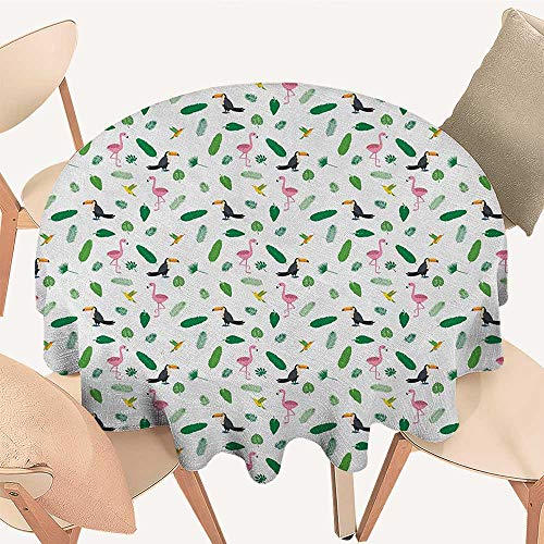 - longbuyer Island Picnic Cloth Jungle Wildlife Pattern Pink Flamingos Hummingbirds Toucans and Green Palm Leaves Round Tablecloth D 54