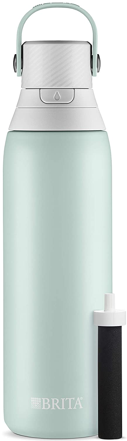 Brita 20 Ounce Premium Filtering Water Bottle with Filter - Double Wall Insulated Stainless Steel Bottle - BPA Free - Glacier and Assorted Colors