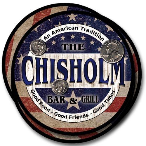 Chisholm Design - Chisholm Family Bar and Grill Rubber Drink Coaster Set - Patriotic Design
