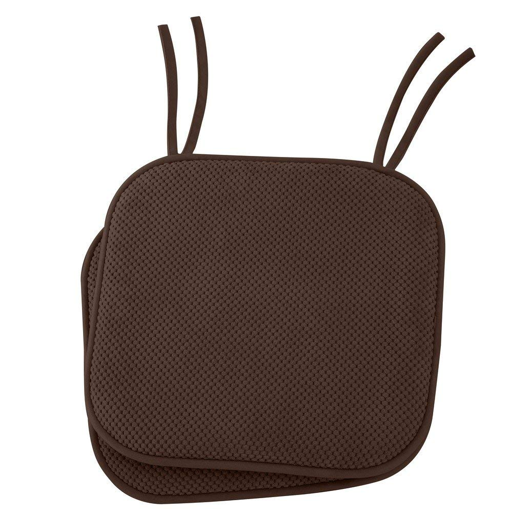 """Ellington Home Non Slip Memory Foam Seat Cushion Chair Pads With Ties - 17"""" x 16"""" - Set of 2 - Brown"""