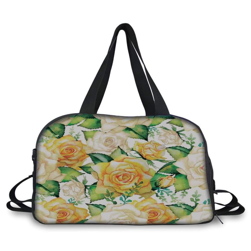 Travel handbag,Roses Decorations,Roses Illustration in Watercolor Painting Effect Ornate Wedding Celebration,Yellow Beige Green ,Personalized