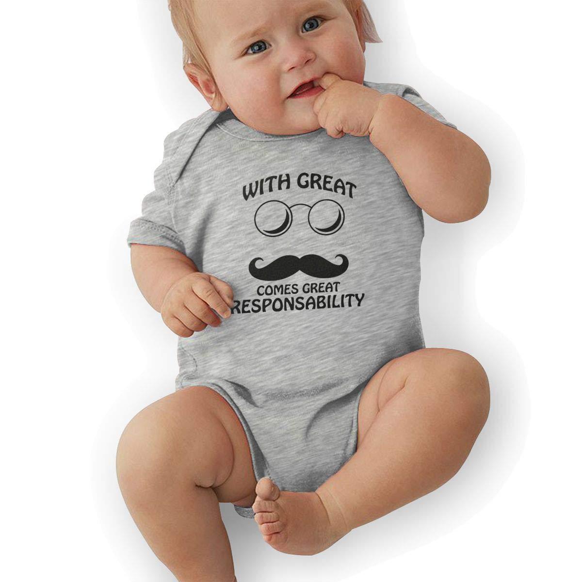 Newborn Baby Boys Bodysuit Short-Sleeve Onesie Great Mustache Comes Great Responsibility Print Rompers Winter Pajamas