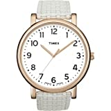 Timex Women's ' Quartz Brass and Leather Watch, Color:White (Model: T2N475)
