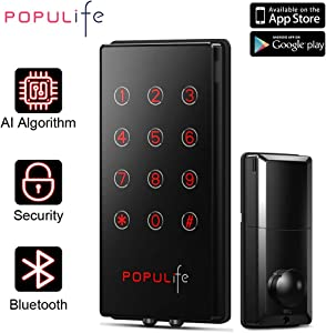 PopuLife Smart Keyless Entry Deadbolt IP 65 Waterproof Electronic Door Locks, Work with eKeys, PIN Code, Alexa and Google Assistant, Perfect for Home/Business/Property/Hotel