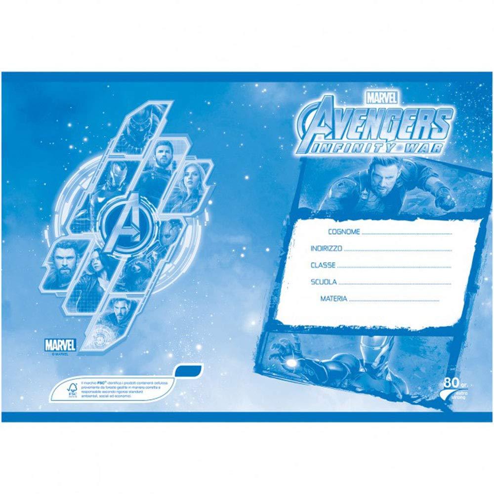 Formato A4 Pack 4 Quaderni Avengers Infinity War Pacco da 4 Pezzi Righe con margine per 1/° e 2/° Elementare Carta 80G //Mq Rigatura A