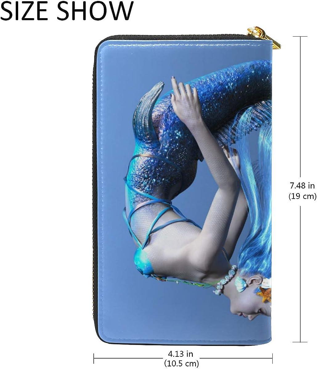 FANTAZIO Clutch Purses for Women 3D CG Rendering Of A Mermaid Pattern Business Card Case
