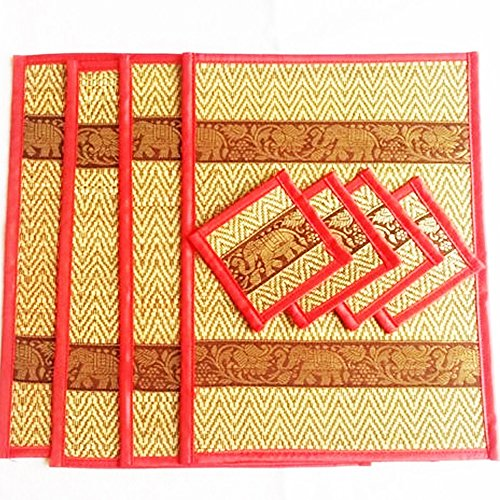 thai-home-decor-silk-handcraft-elephant-reed-placemats-coasters-handmade-dining-room-orange-color