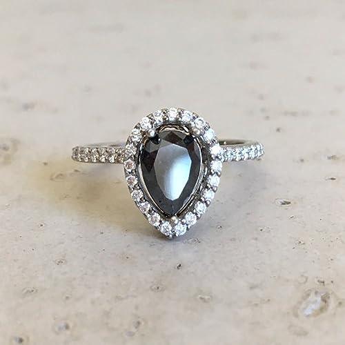Amazon Com Black Diamond Engagement Ring Rose Gold Diamond Engagement Ring Pear Shape Diamond Engagement Ring Classic Black Diamond Promise Ring Handmade