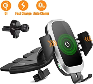 Wireless Car Charger, Mobile Phone Holder Air Vent CD Slot Phone Mount Qi Cell Phone Fast Charging Auto Clamping Car Mount Compatible with iPhone 11 Pro XR Xs X 8, Samsung Galaxy Note 9 S10 S9 S8 S7