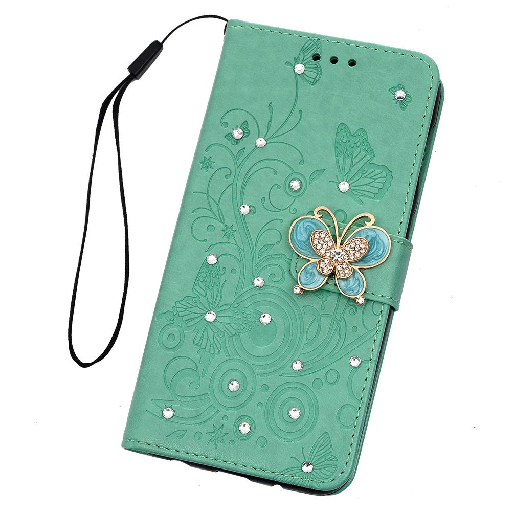 Samsung Galaxy A50 Case Premium PU Leather Embossed Plum Flowers Wallet Notebook Case 3D Handmade Bling Butterfly Crystal Diamond Shockproof Protective Cover for Samsung Galaxy A50 Hot Red